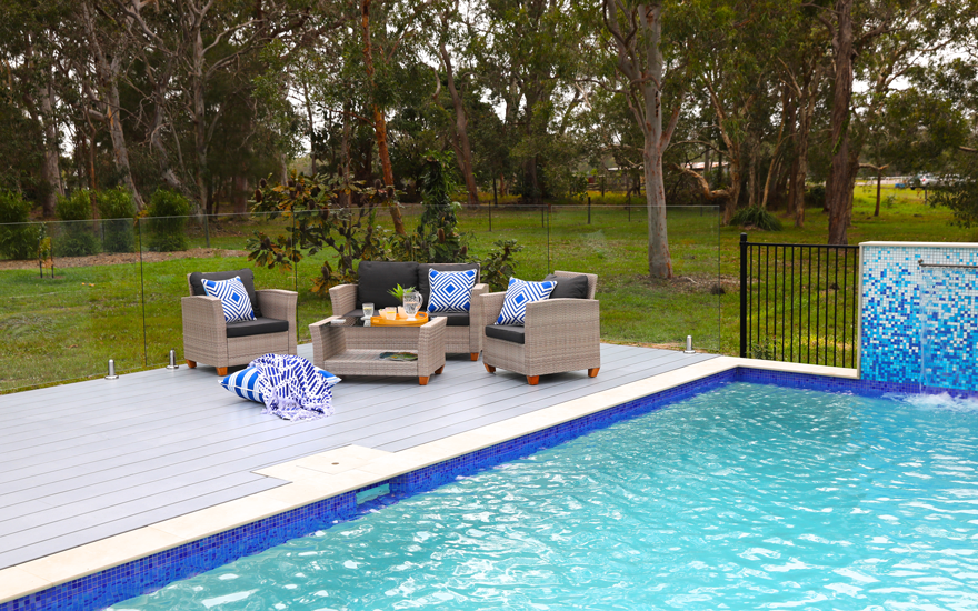 Decking area around pool